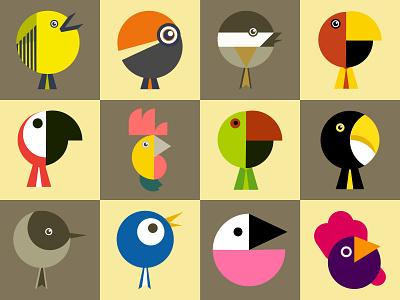 Birds bauhaus birds abstract illustration