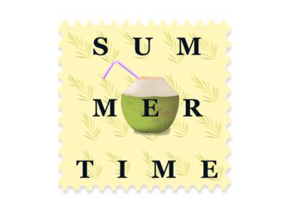 Summer stamp modern artwork design illustration post services stamp illustrations stamp post