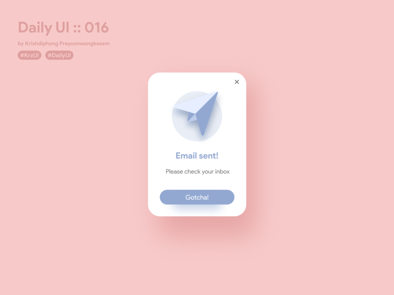 Email sent pop-up #dailyui #016