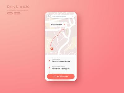 Location Tracker #dailyui #020 map location tracker tracking call to action call typography pantone2019 pantone white vector application app ui design userinterface dailyui