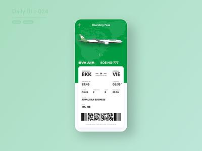 EVA AIR Boarding Pass #dailyui #024 check in checkin airline app airline boarding pass boardingpass boarding airplane 777 boeing eva green typography vector application ui app design userinterface dailyui