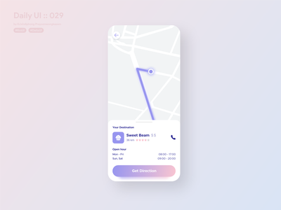 Map with location direction #dailyui #029 location tracker location pin location app direction maps location pastel colors pastel clean design clean ui clean 029 map application app ui design userinterface dailyui