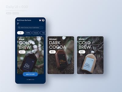 Pricing App #dailyui #030 shopping cart shopping app tea carousel blue branding add to cart coffee shop coffee typography vector application app ui design userinterface dailyui