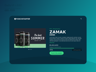 Crowdfunding Campaign #dailyui #032 whitespace blue products product page zamak green product design campaign crowdfunding product white typography website application app ui design userinterface dailyui