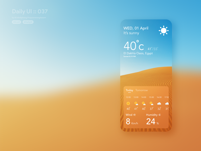 Weather app at Sahara location #dailyui #037 sky temperature egypt desert sahara clean design clean ui clean sunny weather forecast weather app weather typography application app ui design userinterface dailyui