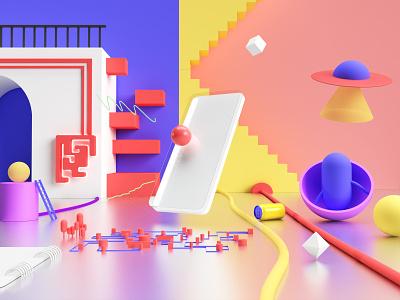 Unbreakable web flat branding app adobe dimension 3d art dimension 3d vector design illustration