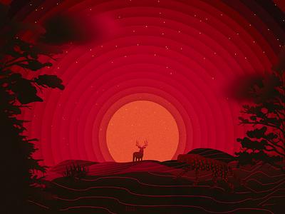 Hunting wild blood red vectors art illustration
