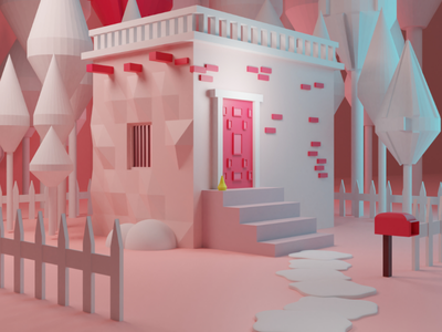Alone 3D low poly lowpolyblender3dillustration
