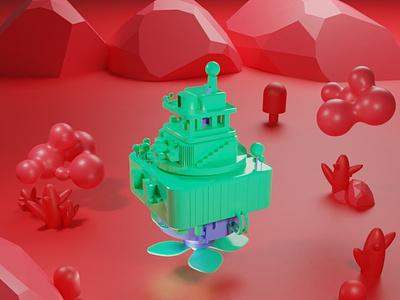 Hover station blender3d branding app adobe dimension 3d art dimension animation 3d design illustration