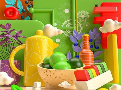 Color & Texture trending graphics 2021 3d illustration illustration trending visuals trending 3d visual art adobe dimension adobe dimension 3dvi branding ui 3d