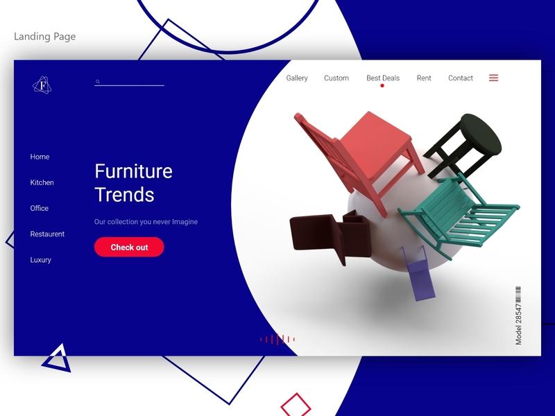 Furniture Landing Page furniture website chair blue web web design vector typography dimension ux design 3d illustraion