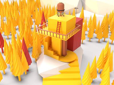 Minimal 3D Watch tower vector illustration dimension 3d art adobe dimension