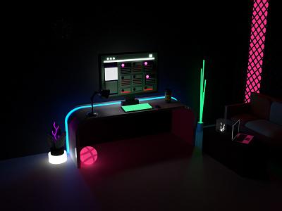 Neon Work Desk app web adobe dimension branding vector 3d art ui dimension 3d design illustration