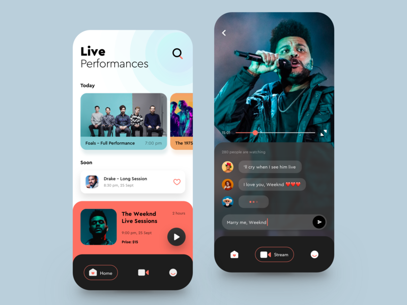 Live Perfomances App videoplayer video music player bands broadcast stream concert live music