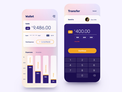 Wallet and Transfer App income expenses transfer budget mobile virtual card banking app banking money transfer credit card money finance balance wallet fintech
