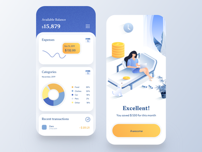 Budget Expenses App tracker payment income expenses mobile budget banking app banking money transfer credit card money finance balance wallet fintech