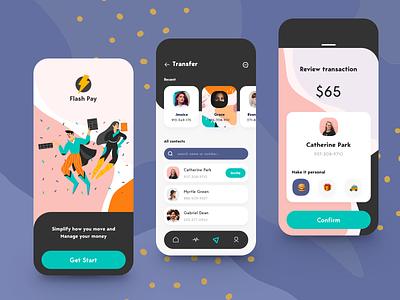 Flash Pay App - Money Transfer product financial app send money online bank cards product design virtual card banking app banking money transfer credit card money finance balance wallet fintech