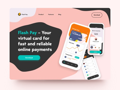 Flash Pay Landing Page landing web design website brand product transfer payment virtual card banking app banking money transfer credit card money finance balance wallet fintech