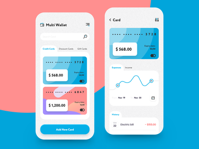 Multi Wallet App stats mobile mobile app gift card discount card income expenses send money budget virtual card banking app banking money transfer credit card money finance balance wallet fintech