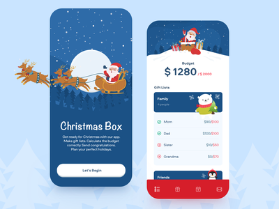 Christmas Box App holidays gift mobile app cristmas mobile budget money finance balance wallet fintech