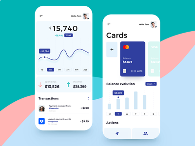 Finance Mobile App transactions mobile app money management income spending budget virtual card banking app banking credit card money transfer balance wallet money finance fintech