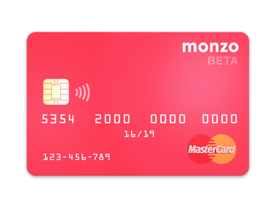 Monzo Card Beta monzo chip pantone 805 fluorescent neon hot coral master card