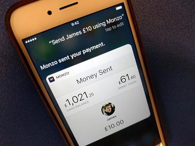 Hey Siri, send James £10 using Monzo ios 10 bank payments siri monzo