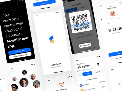 Cash Tech Mobile App Design 📱 ethereum ether mobile application mobile design mobile app wallet app wallet ui wallet bitcoin bitcoins bitcoin wallet crypto exchange crypto currency cryptocurrency crypto crypto wallet
