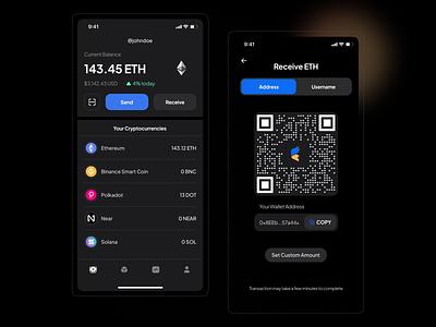 Crypto Wallet - Dark Mode Exploration 🌑 mobile app design mobile app dark dark app dark theme dark mode dark ui finance app wallet app walletapp bitcoins bitcoin wallet crypto exchange crypto currency cryptocurrency crypto wallet crypto