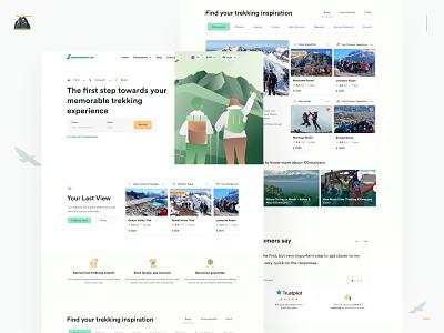 Bookatrekking 2.0 design at a glance 🏔 whitespace green mountain trekking minimalist graphic design design illustration landing page indonesian branding ui indonesia