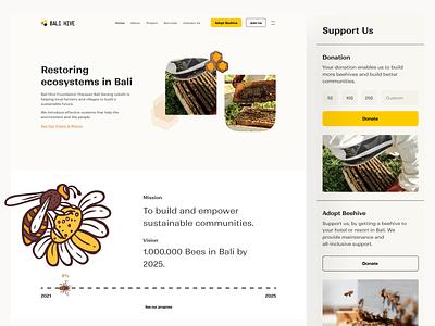 Bali Hive Web Design 🐝 community non profit fundraising landing page indonesian design ui web design website crowdfunding donate foundation orange beehive bee