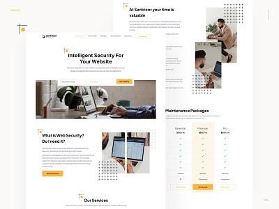 Sentricor Marketing Site Design 🔒 whitespace clean minimalist wordpress security website landing landing page design web design landing page design indonesian ui