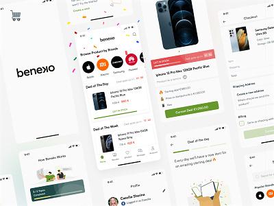 Beneko App Design 📱 app marketplace ecommerce clean whitespace minimalist green logo illustration design mobile app indonesian ux mobile app design indonesia ui