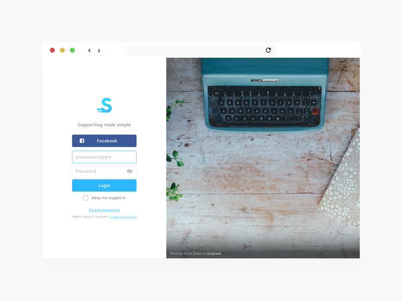 Skrip.in login form redesign landing page web web design ux ui signup register login