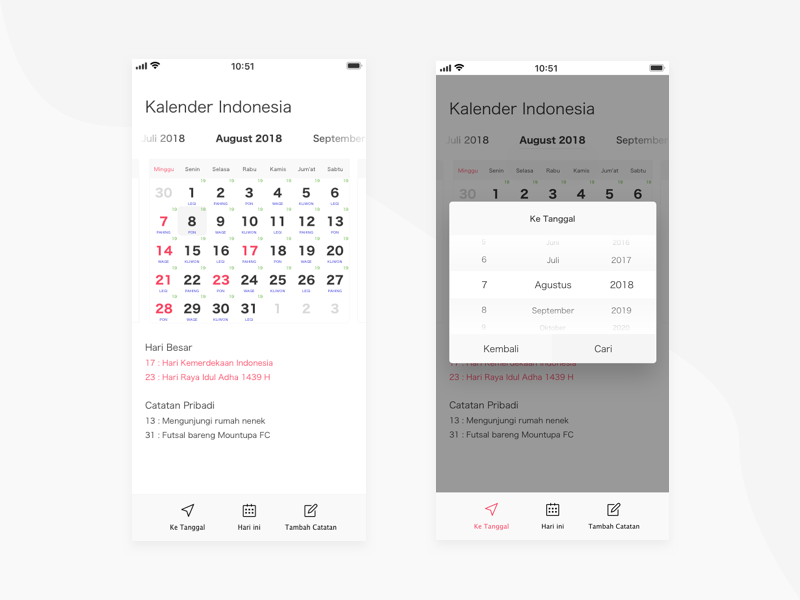 Redesign For Kalender Indonesia Android App By Iosi Pratama