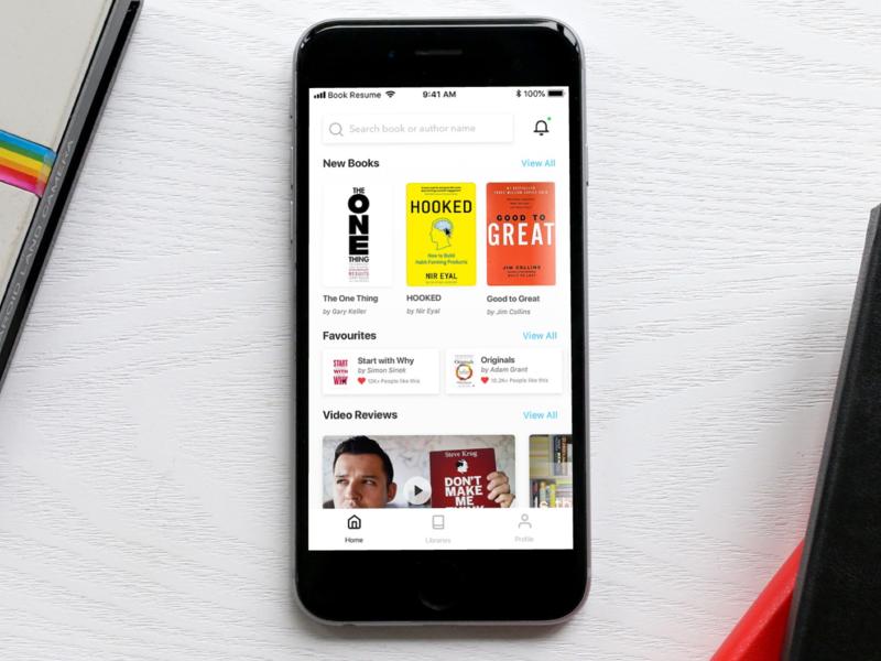 Book Resumes Mobile App Design mockup minimal clean simple whitespace book mobile ui indonesia ux ui