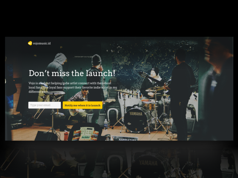 Vojomusic Comingsoon Page Design song landing page indonesia ui coming soon page comingsoon landing music app music