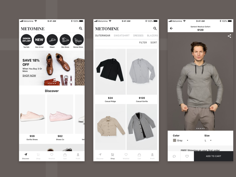 Metomine App Redesigned Concept mobile app design uidesign fashion fashion app ecommerce mobile app design ux ui
