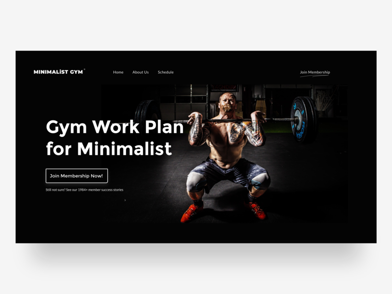 Minimalist Gym Hero UI Exploration indonesia hero banner hero fitness club fitness gym
