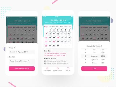 Redesign Kalender Indonesia App - UX Case Study mobile app mobile app design indonesian calender calendar app calendar design calendar 2019 calendar ui calendar