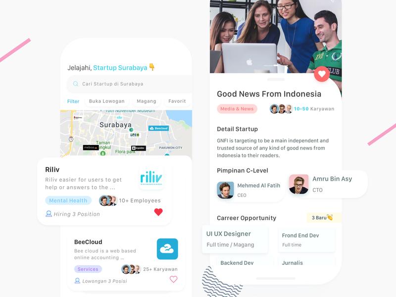 Startup Surabaya | Home & Detail Exploration whitespace minimalist simple indonesia ui mobile app design surabaya list startup startups startup