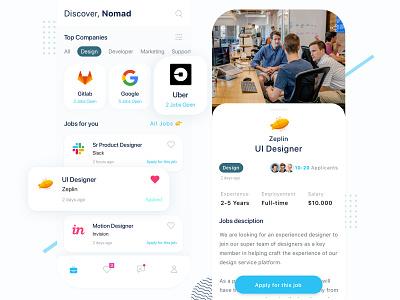 Nomad Exploration simple ux mobile app indonesia ui freelance freelancer digital nomad jobs mobile app design