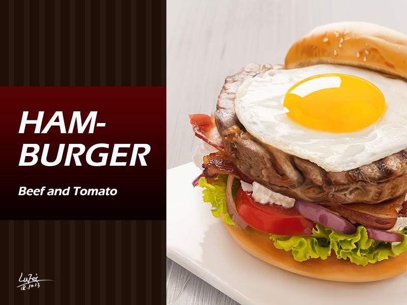饿了么?来个汉堡? hand-painted hamburger