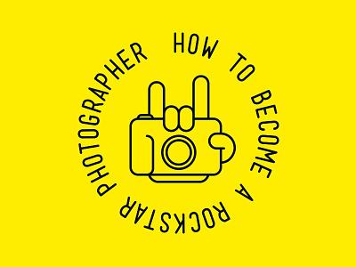 H.T.B.A.R.P. logo branding rock hand camera lineart yellow rockstar cam photography