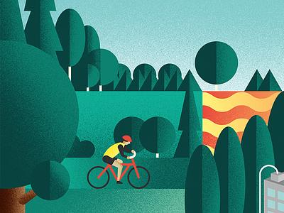 Landscape geometric nature bike brush grain illustration landscape