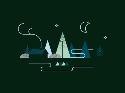 Forest Landscape night sky moon fog tree trees wood landscape forest illustration