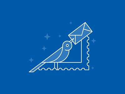 Newsletter Bird letter bird icon bird stamp vector illustration lineart icon design illustration newsletter