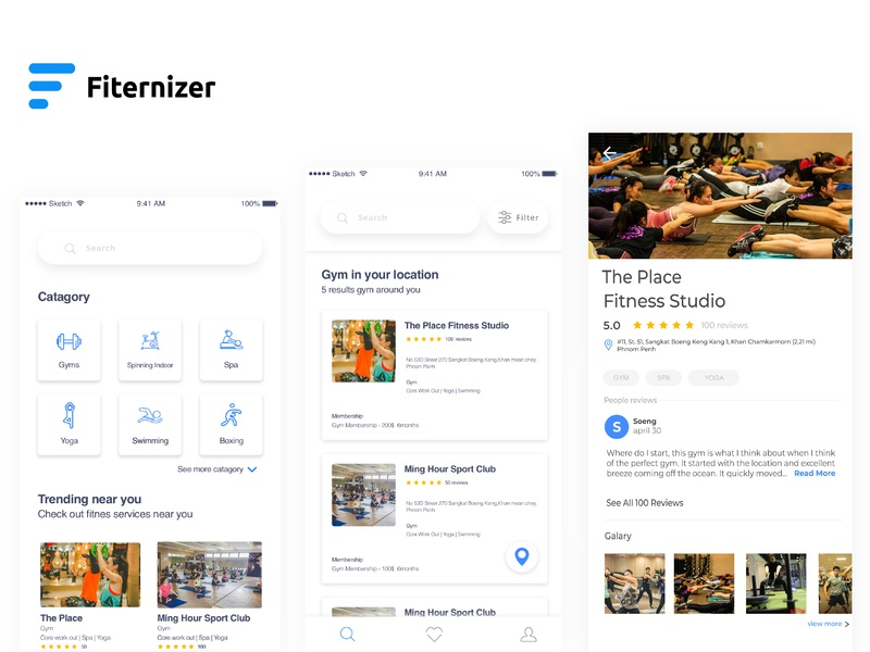 Fiternizer - Booking Gym ( Home screen, Search, Details ) ios mobile app mobile animation detail search home app uidesign interace ux  ui ui
