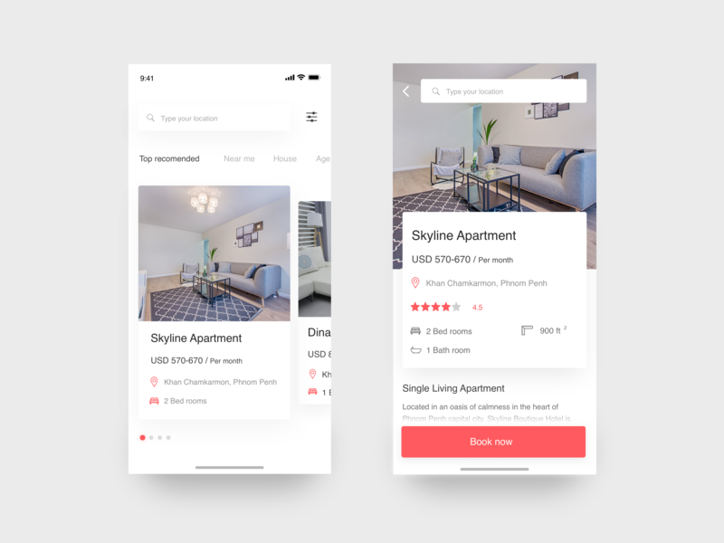 Booking place app - looking place to live rank app recommend detail page sketch ios design ios house live booking system booking app apartment clean app interaction app design uiuxdesign uidesign