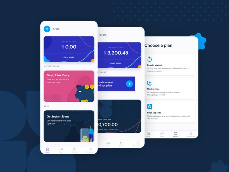 Savings App illustration app ui designer design ux